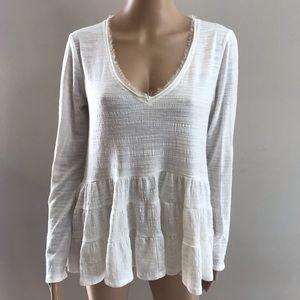 Deletta long sleeve to blouse white Sz S oversized